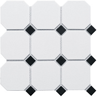 Octagon big White/Black Matt CLA006. Мозаика (30x30)